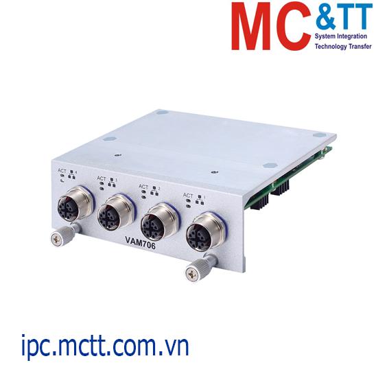 Module mở rộng 4 cổng Gigabit Ethernet M12 X-coded Axiomtek VAM706